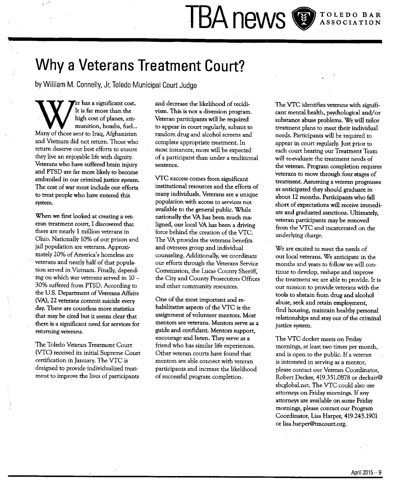Why a Veterans Treatment Court (Toledo Bar Association
