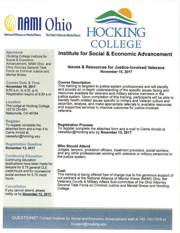 Hocking College Issues & Resources for Justice-Invovled Veterans Training 11-15-17 2